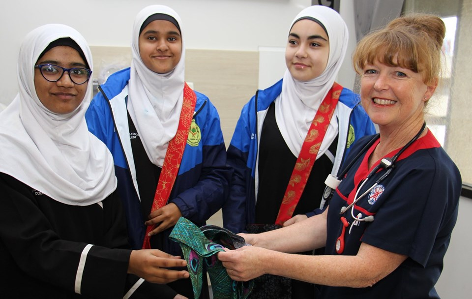 Students from the Australian Islamic College with SSU Clinical Nurse Gill Groom.